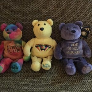 Set Of 3 BEATLES LTD ED. Beanie Bears